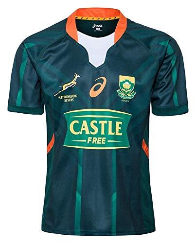 2020 Südafrika Springbok 7s Rugby-Trikots, Weltcup-Baumwoll-Jersey-Grafik-T-Shirt, Heim- und Auswärts-Wettkampf-Training Football Jersey, Geschenk für einen Freund (Color : A, Size : S)