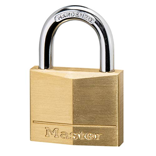Master Lock 140EURD Schlüssel Vorhängeschloss aus Massivmessing, Gold, 6 x 4 x 1,3 cm