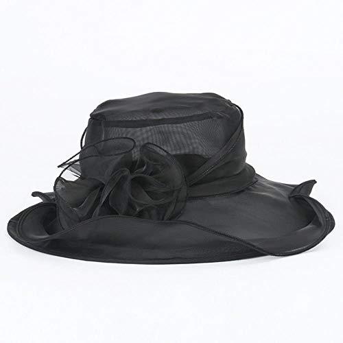 Viner zomer vrouwen hoed vrouwelijke elegante kant brede rand Kentucky Derby zonnehoed bruiloft theekransje kerk GLB dames Fedora hoed, F
