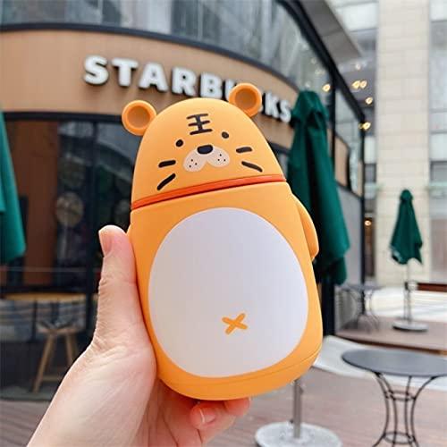 YYSD 300Ml Lindo Panda Taza de Agua de Vidrio Cerdo ratón portátil al Aire Libre anticaída Botella de Agua Tigre Silicona Resistente al Calor Taza de té de Leche