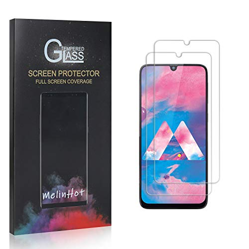MelinHot Displayschutzfolie für Galaxy M30, 9H Anti Kratzen Panzerglasfolie, 99% Transparente Schutzfilm aus Gehärtetem Glas für Samsung Galaxy M30, 2 Stück