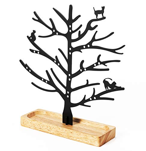 ZAC HOME Cat Kitty Jewellery Stand Tray Holder Tree for Cat Lovers/Women/Daughter/Girls/Children