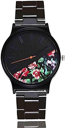 JZDH Mano Reloj Reloj de Pulsera de Lujo Floral patrón Casual Reloj de Cuarzo Mujer Reloj relogiono Vintage Cuero Mujeres Relojes Relojes Decorativos Casuales (Color : Red)