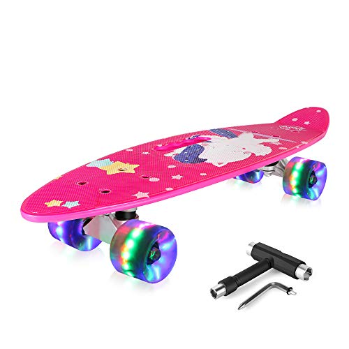 BELEEV Skateboard 24 inch Complete Mini Cruiser Retro Skateboard for Kids Teens Adults, LED Light up Wheels with All-in-One Skate T-Tool for Beginners (Hot Pink)