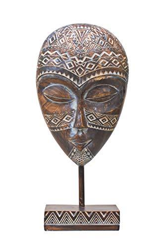 Deko Maske auf Sockel Afrika Ethno Style Figur Büste Kopf Relief Skulptur