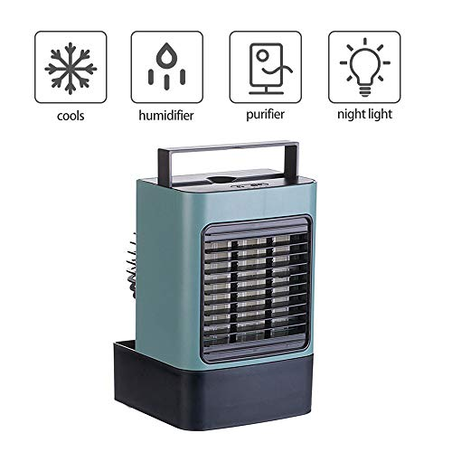 KKTECT Mini Luftkühler Luftbefeuchter Reiniger Mobile Klimaanlagen Tragbarer Tischbefeuchter & Luftreiniger mit 3 Windgeschwindigkeiten für Schlafzimmer Wohnzimmer Büro Nachttisch (Rosado)
