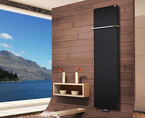 Badheizkörper Design Mirror Steel 3, 180 x 47 cm, 1118 Watt, schwarz + 1 Handtuchhalter (15x15mm) (Marke: Szagato) Made in Germany/Bad und Wohnraum-Heizkörper (Mittelanschluss)