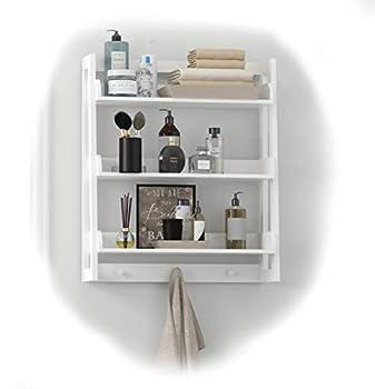 UTEX 3 Tier Bathroom Shelf Wall Mounted with Towel Hooks Bathroom Organizer Shelf Over The Toilet  White