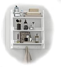 UTEX 3 Tier Bathroom Shelf Wall Mounted with Towel Hooks, Bathroom Organizer Shelf Over The Toilet (White)