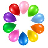 Contains 125 premium party balloons in an equal assortment of 10 rainbow colors Includes 12 of each of the following colors: Blue, Purple, Green, Light Green, Yellow, Pink, Red, Orange, Peach, Light Blue, plus 5 white balloons The most perfect bulk b...