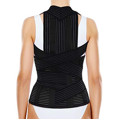 ORTONYX Soporte completo para espalda con almohadilla dorso-lumbar extraíble - Alivio del dolor de espalda superior e inferior, cifosis torácica, hombros redondeados, L