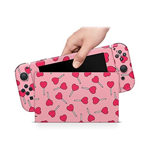 46 North Design Switch Skin Pour Console Et Joycons, Même Qualité De Décalque Des Voitures, Valentine Sucre Bonbon Sucette Coeur Rouge Rose, Haute Qualité, Durable, Sans Bulles, Fabriqué Au Canada
