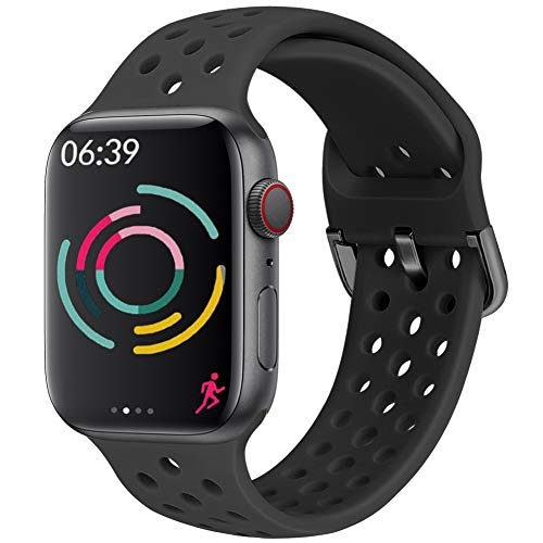 Hisri Compatible with Apple Watch Band 44mm 40mm 42mm 38mm Sport Breathable Extra-Soft Silicone Wristband Men Women Replacement Bands for iWatch Band Series 5 4 3 2 1 (Black, 42mm/44mm)