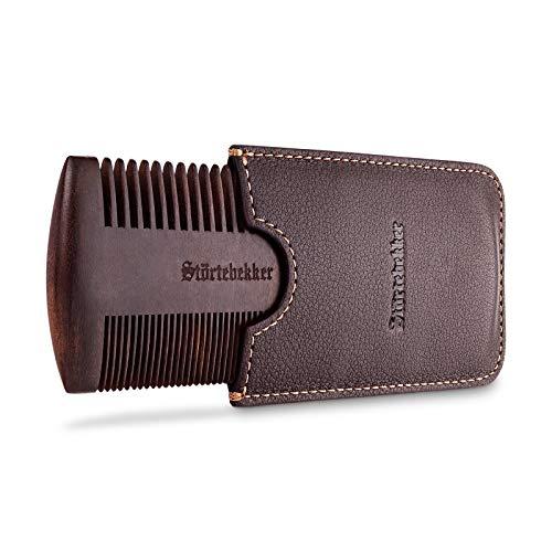 NEU: Störtebekker® Premium Bartkamm aus Holz mit handgefertigtem Lederetui - Perfekte Geschenkidee - Bringt jeden Bart in Form dank beidseitiger Verzahnung - inkl. Rasur- und Bartguide