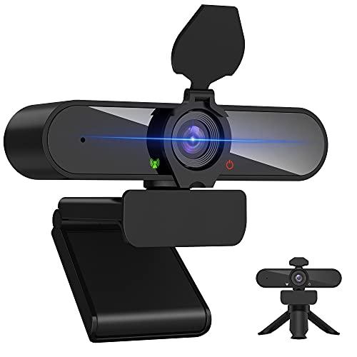 KIWI Design ウェブカメラ HD1080P 200万画素 パソコンカメラ ワイドサイズ対応 内蔵マイク skype会議用PCカメラ Windows 10/8 / 7 Mac OS X, Youtube, Skype