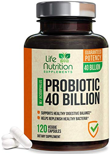 Probiotic 40 Billion Cfu - 15x More Effective with Targeted Release, Lactobacillus Acidophilus Probiotics, Made in USA, Non-GMO, for Women & Men, Immune Support and Digestive Health - 120 Capsules