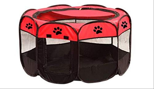 FOEAQ pet Bed Portable Outdoor Indoor Kennels Fences Pet Tent Houses Foldable Playpen Indoor Puppy Cage Crate Delivery Room for Small Larg Dog L Red