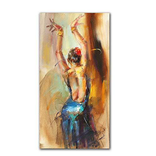 YANGMENGDAN Druck auf Leinwand Moderne Wandkunst Leinwandbilder Tanz Mädchen Poster Und Drucke Schöne Frauen Leinwandbilder Für Wohnzimmer 40x80 cm x 1 stücke Kein Rahmen