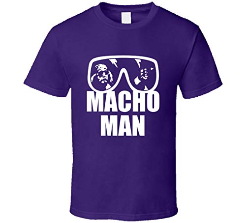 N/Y Macho Man Randy Savage Wrestler - Camiseta para disfraz de Halloween, color morado Negro Negro ( XXL