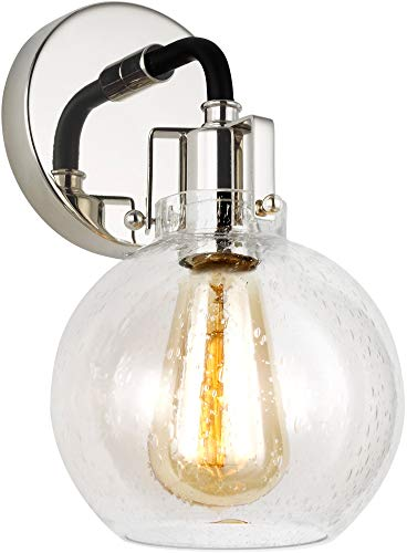 "Feiss VS24401PN/TXB Clara Clear Seeded Glass Wall Sconce Lighting, 1-Light 75 Watts (11""H x 6""W), Polished Nickel/Textured Black"