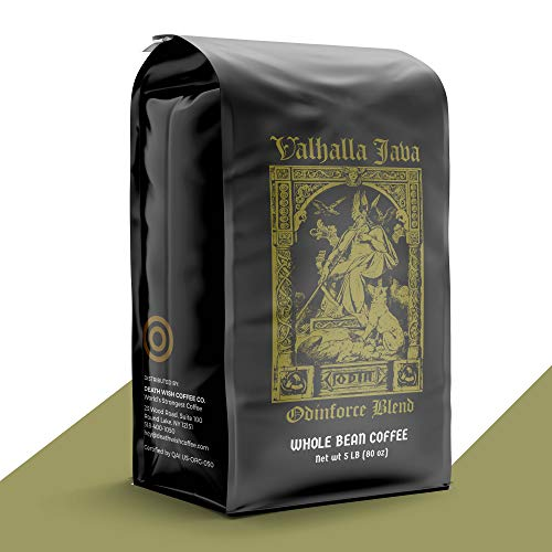 VALHALLA JAVA Whole Bean Coffee [5 Lbs.] World's Strongest Coffee, USDA Certified Organic, Fair Trade, Arabica and Robusta Beans (1-Pack)