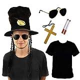 SLASH - Disfraz de guitarrista de piel negra (tamaño grande, accesorio para disfraz de estrella de rock musical, color negro, dorado, gafas falsas de los años 80 de SLASH