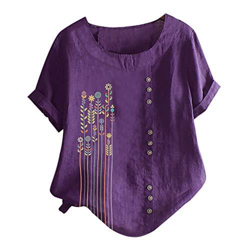WooCo Leinen Oberteile Damen Sommer Großen Größen - Gesticktes Blumenhemd Baumwolle - China Shirt Charakteristisch Kurzarm Top Bluse - Damen Sale(Violett-E,M)