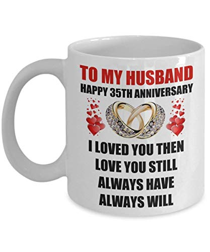 Younini 35 años 35 aniversario de boda regalo de matrimonio para él hombres marido de la esposa anillos románticos de amor para citas regalo taza de café taza de San Valentín Engagem
