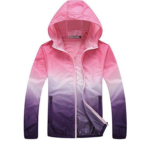 laamei Veste de Sport Léger à Capuche Femme Homme Protection UV Coupe-Vent à Séchage Rapide