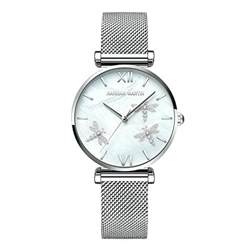 Cuitan 2021 Pearl Shell Dragonfly Ladies Luxury Diamonds Scallop Relojes de Acero Inoxidable para Mujeres Drop(Blanco)