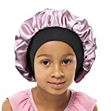 Double Layer Kids Satin Bonnet Wide Elastic Band Sleep Cap for Hair Bonnet Silky Night Hat for Toddler Child(Kids size, Kids pink)