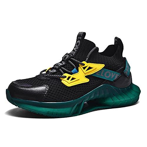 BAIDEFENG Calzado de Entrenamiento Fitness,Zapatillas de Deporte de Malla para Hombre de Moda, Zapatillas de Deporte de Alta Elasticidad y Secado rápido-Verde Oscuro_41