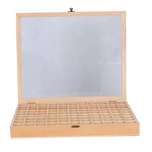 Présentoir d'huile essentielle, arôme stockage rack huile essentielle stockage rack 99 grille huile stockage boîte couvercle en verre huile cadre en bois huile essentielle gestionnaire femme cadeau