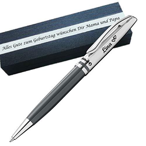 Pelikan - Kugelschreiber mit Gravur als Geschenk & Symbol mit Gravur auf Geschenkverpackung Pelikan Kugelschreiber Jazz Classic Warmgrau PS18Box2