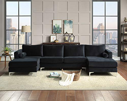 Sectional Sofa Sets Modern Elegant Velvet with Two Pillows, Upholstered U-Shaped Sofa Couch for Living Room/Apartment, Black