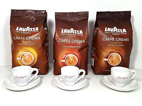 Lavazza Caffe Kaffee Bohnen dolce classico & gustoso + 3x Ramazzotti Espresso Gläser mit Untertasse