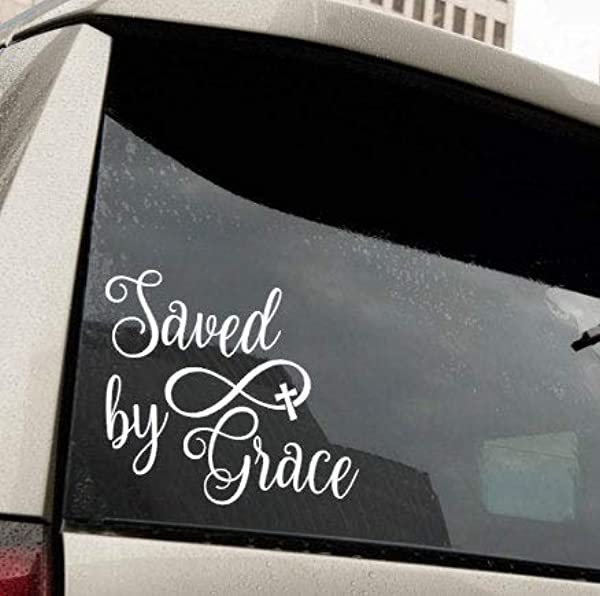 CLIFFBENNETT Saved By Grace Vinyl Decal Auto Decal Cross Infinity Inspirational Religious Car Decal Truck Decal Gift Tumbler Decal Yeti Decal