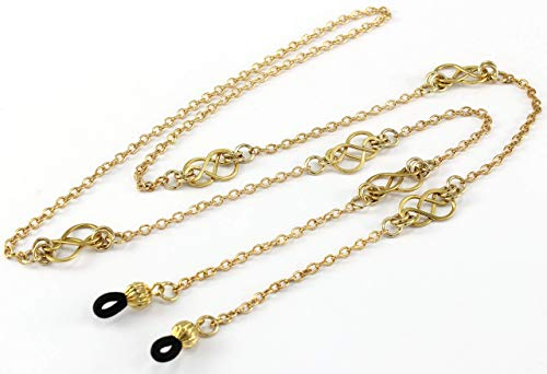Womens Fashion Eye Glasses Necklace Chain with Handcrafted Gold Celtic Knots, Fits Most Glasses