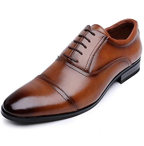 [ロムリゲン] ビジネスシューズ 革靴 メンズ 本革 レースアップ 内羽根 ストレートチップ 紳士靴 ブラウン 26.0cm 519-02