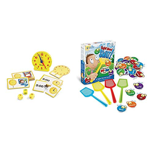 Learning Resources Time Activity Set, Homeschool, Analog Clock, Tactile Learning, 41 Pieces, Ages 5+ & Sight Word Swat a Sight Word Game, Visual, Tactile and Auditory Learning, 114 Pieces, Ages 5+