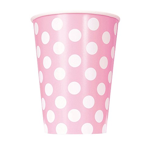 Unique Party - 37976 - Paquet de 6 Gobelets - Carton à Pois - 354 ml - Rose Pastel