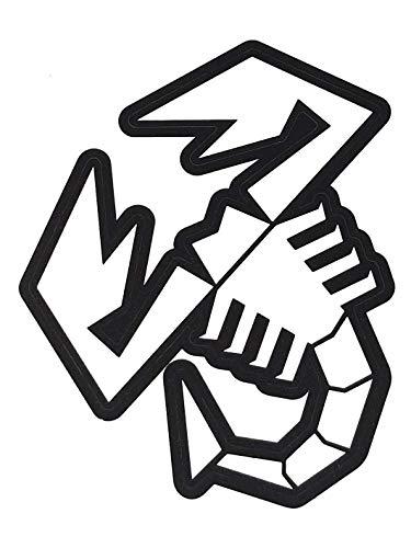 Abarth 21589 Vorgeschnittene Aufkleber Skorpion, transparent mit schwarzem Rand, 120 mm