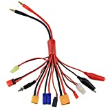 SoloGood 11 in 1 Octopus Convert Lipo Battery Charger Cable 4mm Banana Plug to XT60 XT90 Deans T EC5 JST Tamiya Plug JR Alligator for RC Car Drone