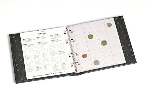 Leuchtturm 313617 album na monety NUMIS Classic niebieski z kasetą ochronną i 5 koszulek na różne duże monety | do monet o Ø 44, 34, 25, 17 mm | niebieski