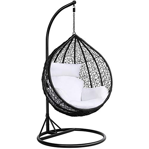 Yaheetech Rattan Swing Egg Chair Garden Patio Indoor Outdoor Hanging Chair with Stand Cushion and Cover,Black