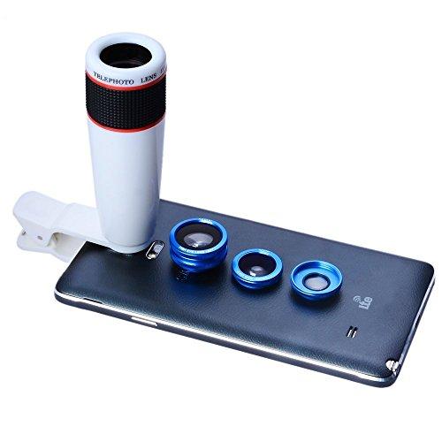 Apexel 4 in 1 Camera Lens 12x Wit Telefoon Lens/Blauw Fisheye/Brede Hoek + Macro Lens met Universele Clip voor iPhone iPad Samsung Galaxy Sony LG Motorola HTC