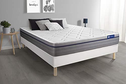 Ensemble Matelas Mémoire de Forme ACTIMEMO Zen 160x200 Maxi épaisseur 7zones de Confort + sommier KIT Blanc - Epaisseur : 26 cm - Confort : Equilibré