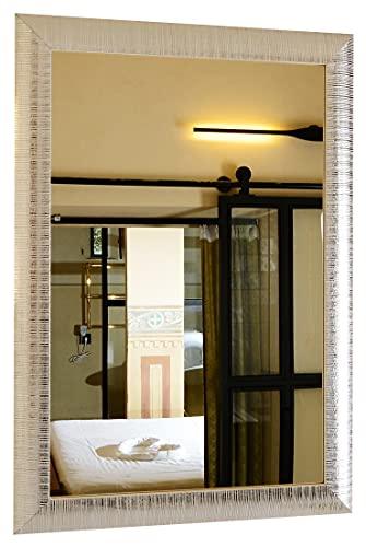 GaviaStore - Elise 70x50 cm - Specchio Moderno da Parete Disponibile in 3 colorazioni - arred casa Art Home Decor Soggiorno Modern Sala paret Camera Bagno Cucina Ingresso (Argento)