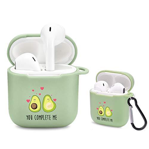 Idocolors Leuke Avocado Case voor Airpods met karabijnhaak Groen [Ondersteunt draadloos opladen] Zachte TPU Cover Slim Kawaii Cartoon Patroon Beschermend voor Apple Airpods 2&1