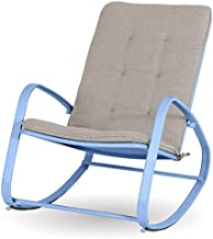 Sophia & William Outdoor Patio Rocking Chair Padded Steel Rocker Chairs Support 300lbs, Blue